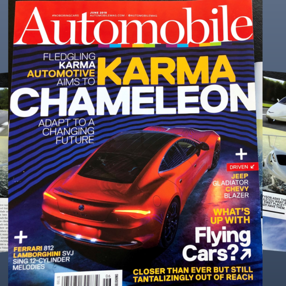 automobile magazine with flying cars article