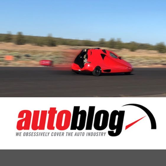 image with AutoBlog logo showing samson sky flying car doing speed test